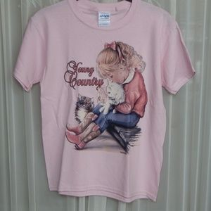Youth Pink Young Country Gildan Ultra Cotton Tee